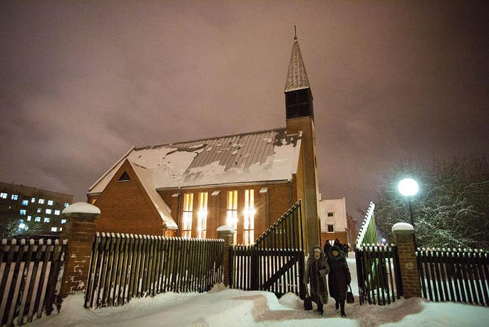 After service in Omsk Evangelical Lutheran Church