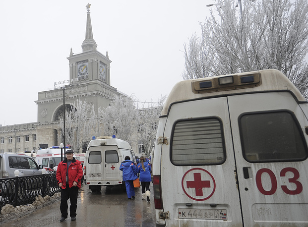 Ambulances at the site of a terrorist act at the railway station in the Russian Volga River city of Volgograd