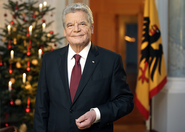 German President Joachim Gauck seen after the recording of the traditional Christmas message at Bellevue Palace in Berlin, December 22, 2014