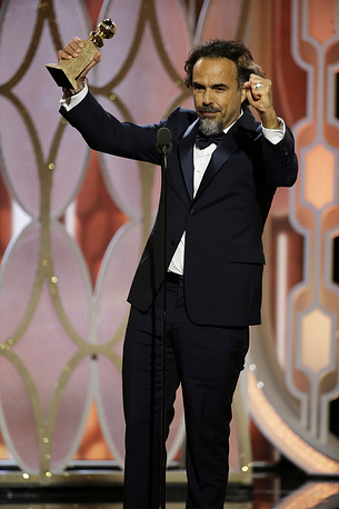 "Alejandro G. Inarritu accepting the award for best director for ""The Revenant"""
