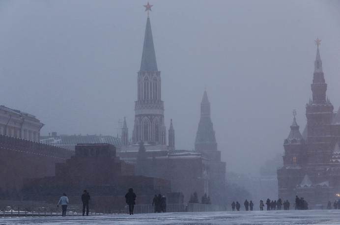 Moscow's Red Square during a snowfall
