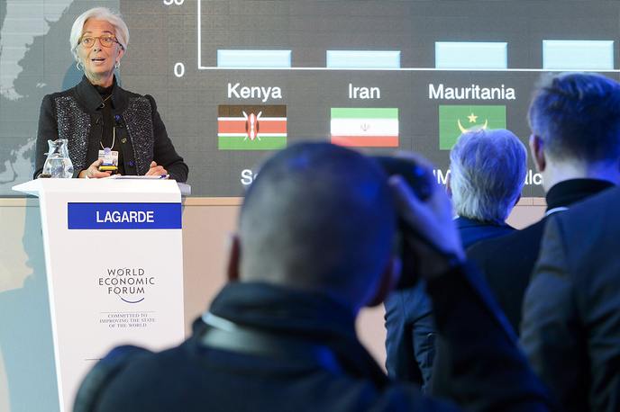 Managing Director of the International Monetary Fund Christine Lagarde speaking during a panel session on the first day of the WEF in Davos