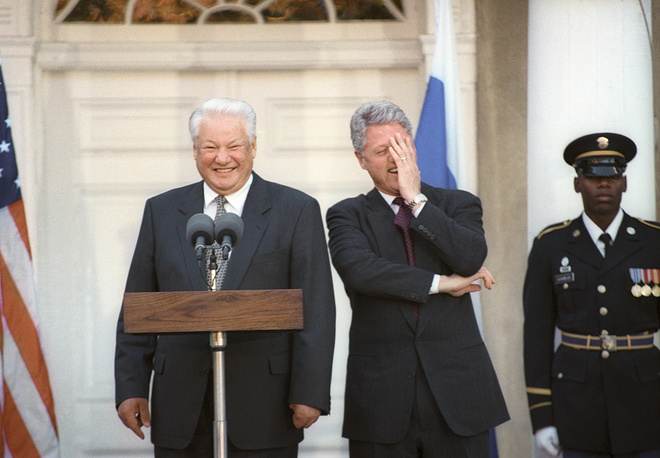 US president Bill Clinton and President of Russia Boris Yeltsin at the press conference, 1995