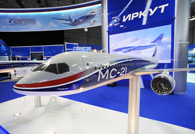A model of MS-21 of Irkut company on display at the MAKS International Aerospace Show