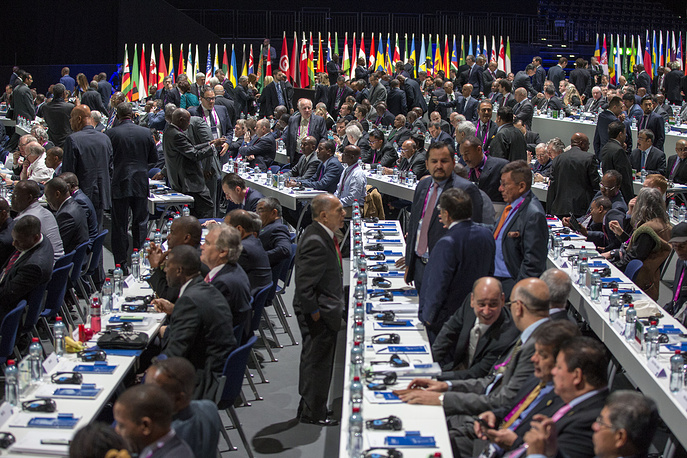 Delegates gathering prior to the Extraordinary FIFA Congress 2016 held at the Hallenstadion in Zurich, Switzerland