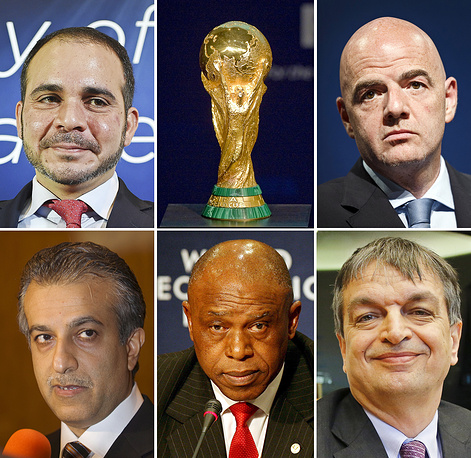 The five candidates running for football world governing body FIFA's presidency at an extraordinary FIFA Congress in Zurich (from top left): President of the Jordan Football Association, Prince Ali Bin Al Hussein, UEFA General Secretary Gianni Infantino, President of the Asian Football Confederation, Sheikh Salman bin Ebrahim Al Khalifa, South African businessman Tokyo Sexwale, and former FIFA deputy Secretary General Jerome Champagne