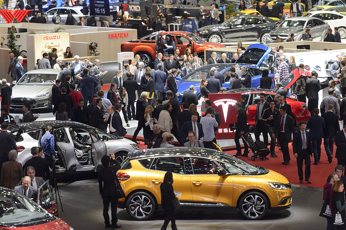 General view of the exhibition hall during the press day at the 86th Geneva International Motor Show in Geneva, Switzerland