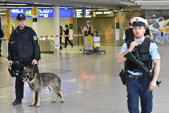 Police officers at the airport in Frankfurt am Main, Germany, as security was increased