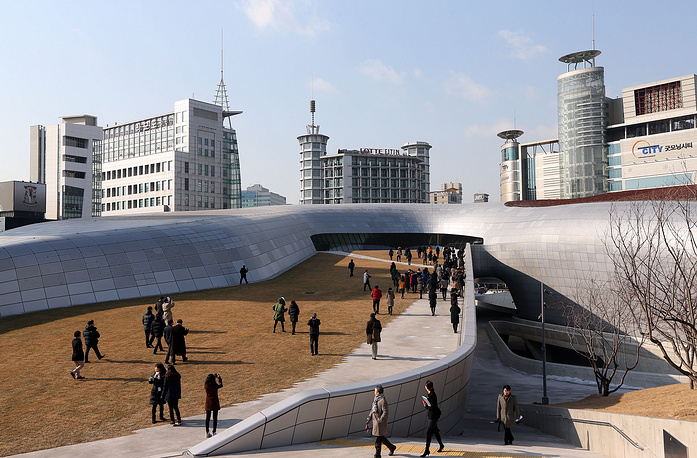 The exterior of the Dongdaemun Design Plaza in Seoul, South Korea. The irregular building, which is 29 meters high and 86,574 square-meter in total floor area, designed by Zaha Hadid