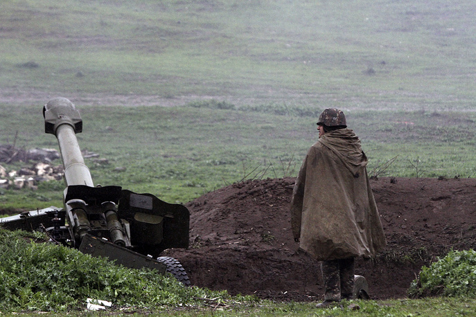 Armenian artillery position of the self-defense army of Nagorno-Karabakh in Martakert, Nagorno-Karabakh republic. Clashes erupted on 01 April 2016 as part of a territorial conflict between Armenia and Azerbaijan in Nagorno-Karabakh republic