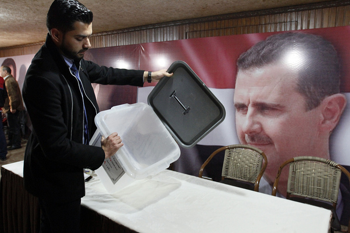 A ballot box is prepared ahead of Syrian parliamentary elections, Damascus, Syria