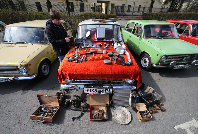 Vintage cars exhibition in Saint Petersburg