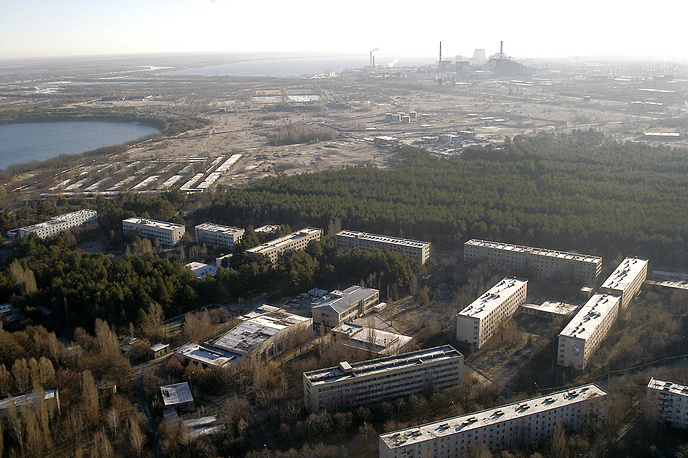 A helicopter view of the town of Pripyat near the Chernobyl power station