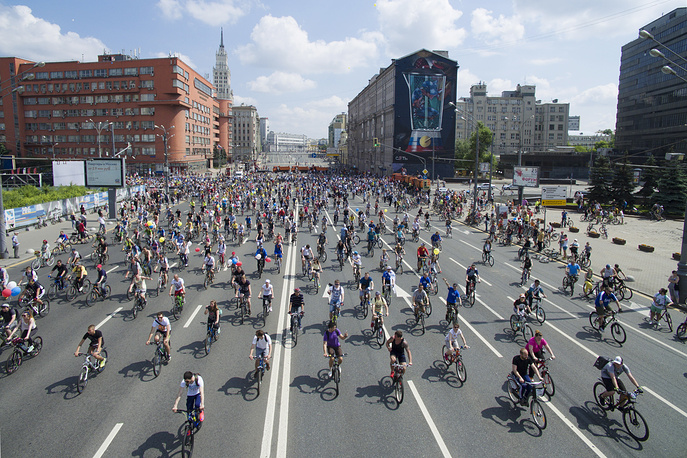 Moscow cycle parade was held in support of the bicycle infrastructure developmen on May 29