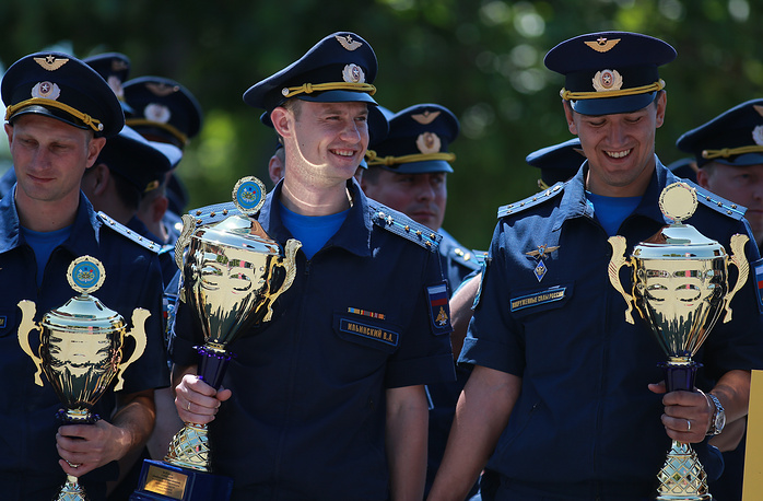 Russian military officers with trophies seen during the award ceremony in Nakhimov Square in central Sevastopol