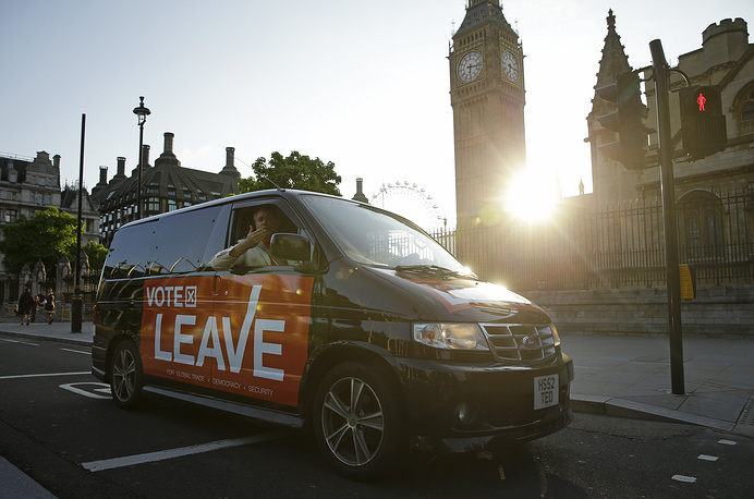 First published results showed most Londoners wanted the country to remain in the EU. Photo: A man in a vehicle sporting a Vote Leave logo driving hrough Parliament Square n London