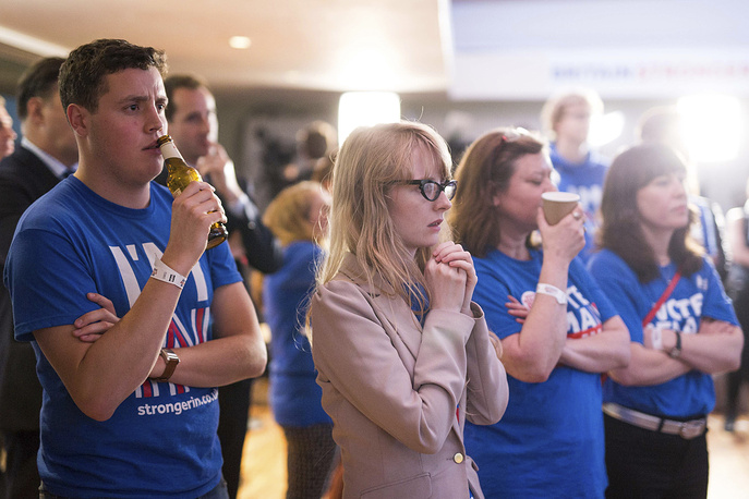 Supporters of the Stronger In campaign reacting after hearing results in the EU referendum at London's Royal Festival Hall