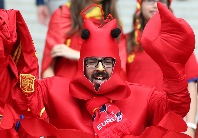 A Spanish fan before the football match between Spain and Italy at Stade de France, 27 June 2016