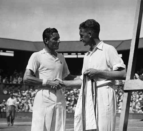 Britain's Fred Perry was world No. 1 in tennis in 1934-1936. He won the Wimbledon gentlemen's singles three times in a row. Photo: Fred Perry with Australia's Jack Crawford at Wimbledon, 1934
