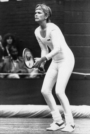 US tennis player Anne White became famous for wearing a tight fitting body suit at Wimbledon, 1985