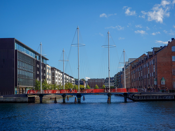 Cirkelbroen translated as The Circle Bridge connects the areas around Copenhagen Harbour