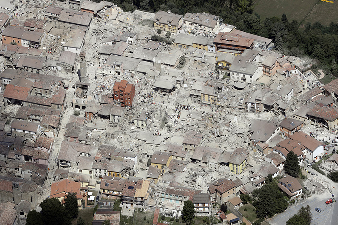 Aerial photo of damaged buildings in the town of Amatrice