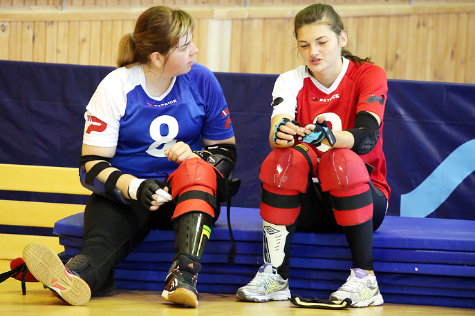 Athletes Evgeniya Semina and Yulia Mikhailova during a training session of Paralympic Goalball team