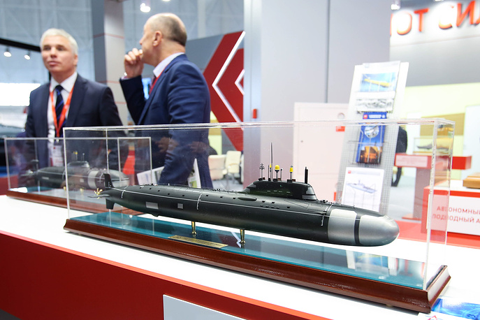 A mockup of the Yasen nuclear-powered submarine at the United Shipbuilding Corporation's stand