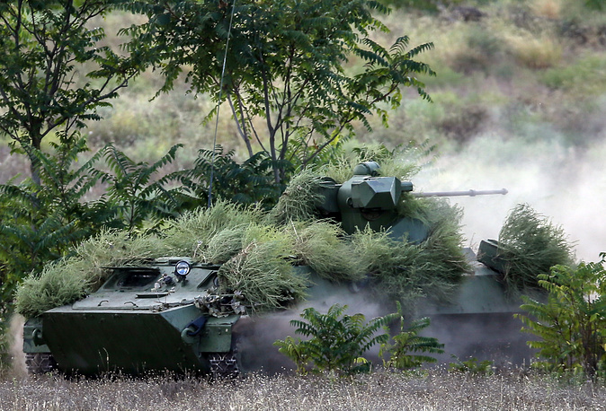 An MT-LB multi-purpose amphibious armoured tracked vehicles