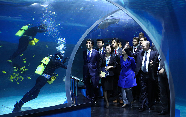 Russia's President Vladimir Putin, South Korea's President Park Geun-hye and Japan's Prime Minister Shinzo Abe visit the Primorye Oceanarium on Russky Island, Vladivostok, September 3