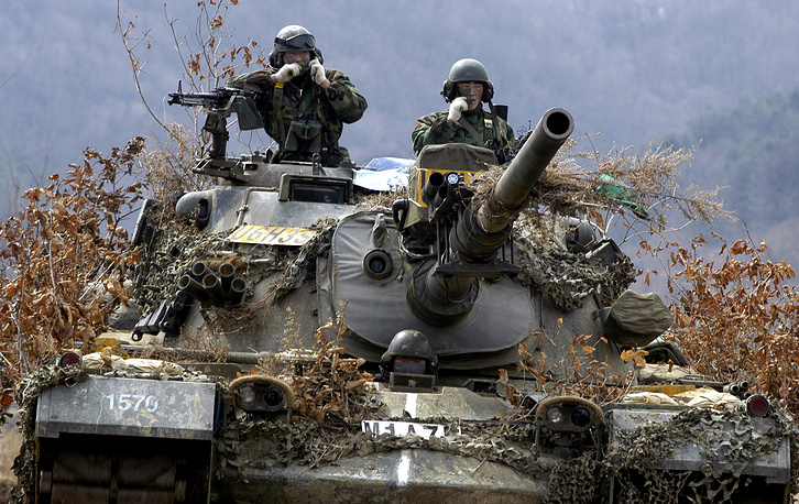 The M48 Patton tank served as the US Army and Marine Corps's primary battle tank during the Vietnam War. It was also widely used by NATO countries. Photo: South Korean Army soldiers ride a M48 tank during a joint military training with US Army in Paju, South Korea, 2003