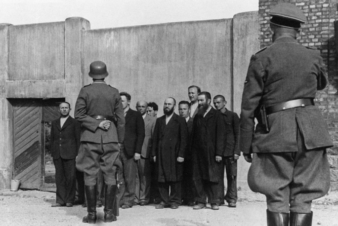 Jews ahead of a mass execution in the Lithuanian town of Siauliai, 1941