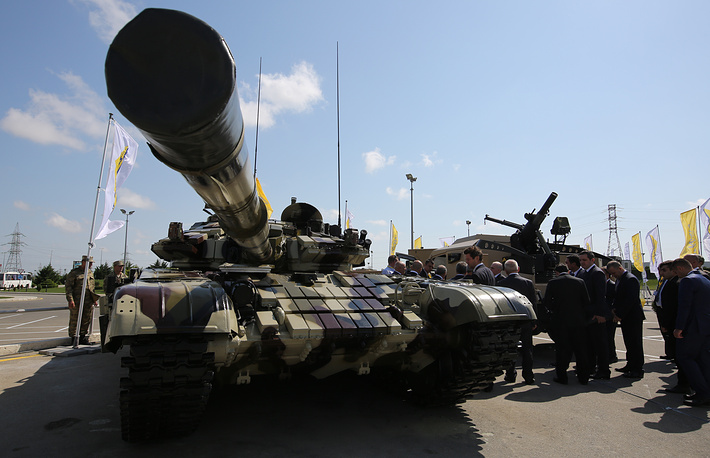 A modernized T-72 tank on display at the ADEX 2016 Azerbaijan International Defense Industry Exhibition