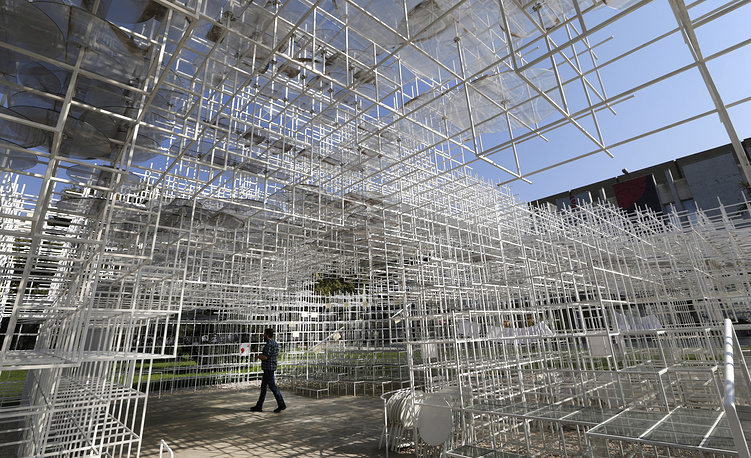 A 541 square meters structure called 'The Cloud' made by Japanese artist Sou Fujimoto displayed at the centre of Tirana, Albania, 27 September