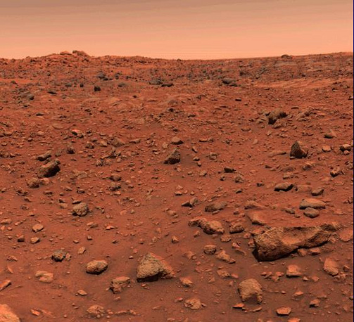 First color picture of Mars taken July 21, 1976, the day following Viking 1's successful landing on the planet