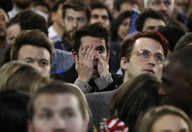 Supporters react to election results in the Jacob Javits Center in New York