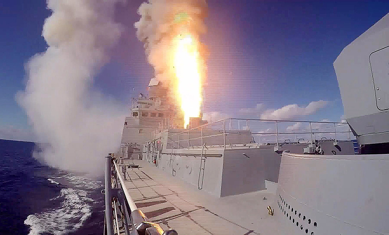 The Admiral Grigorovich frigate fires a Kalibr cruise missile