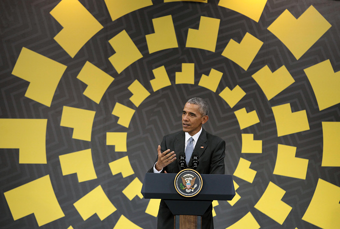 US President Barack Obama speaks during a press conference at the end of the APEC Summit in Lima