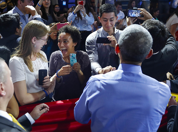 Barack Obama speaking at a town hall with Young Leaders of the Americas Initiative in Lima