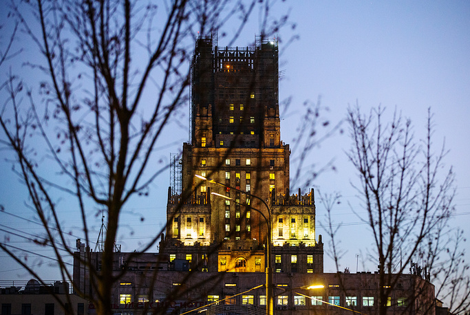 A view of the main building of the Russian Ministry of Foreign Affairs, without the spire which is under repair, November 21