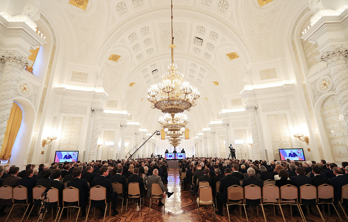 Inside the Moscow Kremlin during President Vladimir Putin's annual address to the Russian Federal Assembly