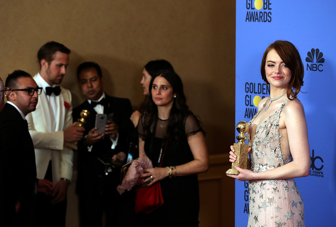 Ryan Gosling and Emma Stone, winners for Best Actor and Best Actress in a Musical or Comedy Film for 'La La Land' at 74th annual Golden Globe Awards ceremony