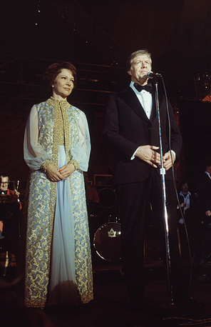 Rosalynn and Jimmy Carter in the blue room of the White House in Washington, following his inauguration, 1977