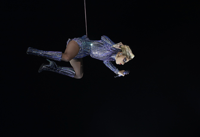 Lady Gaga performs during the halftime show of the NFL Super Bowl 51 football game between the Atlanta Falcons and the New England Patriots, USA, February 5
