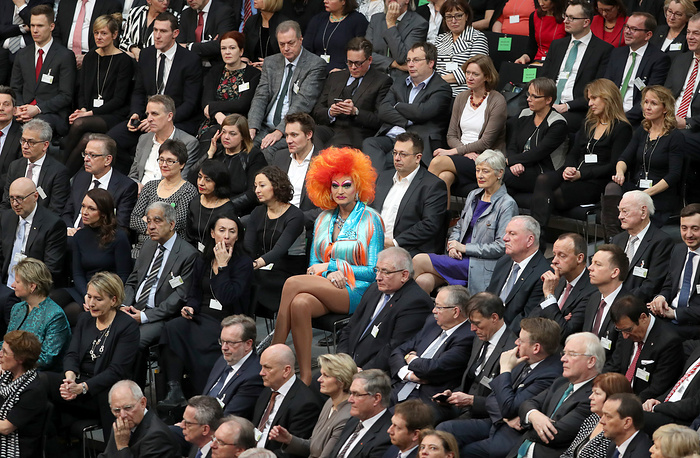German TV personality, Drag Queen Olivia Jones seen during the Federal Assembly (Bundesversammlung) at the German 'Bundestag' parliament in Berlin, Germany, February 12