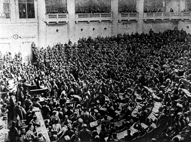 On March 16, a provisional government was announced. The socialists had formed their rival body, the Petrograd Soviet. Photo: The Tauride Palace hosts an assembly of the Petrograd Soviet of Workers' and Soldiers' Deputies, Petrograd, 1917