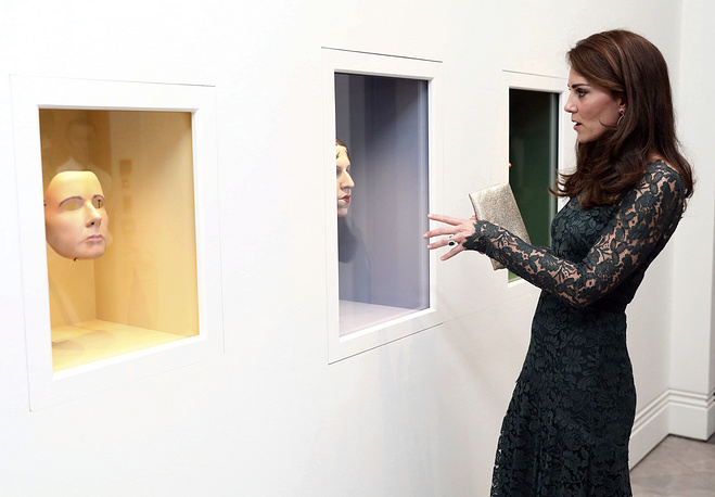 Britain's Kate the Duchess of Cambridge views work by artist Gillian Wearing at the 2017 Portrait Gala at the National Portrait Gallery in London, UK, March 28