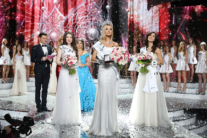 Second runner up Albina Akhtyamova, Miss Russia 2017 Polina Popova and first runner up Ksenia Aleksandrova