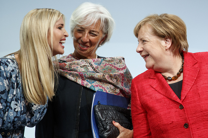 Participants of the W20 Summit say their farewells after holding a panel discussion