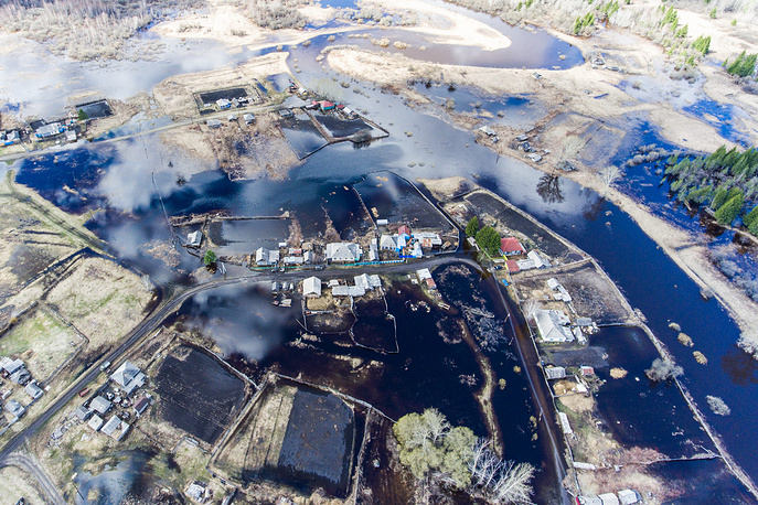An aerial view of the Pikhtovka village affected by flooding in  Novosibirsk Region, as the water level in the Baksa River rises, April 30